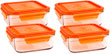 Wean Green Meal Cubes Glass Tupperware Containers - Carrot Set of 4