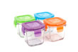 Wean Green Wean Cubes Glass Baby Food Containers - Multi-Color Garden 4 Pack Featuring Grape