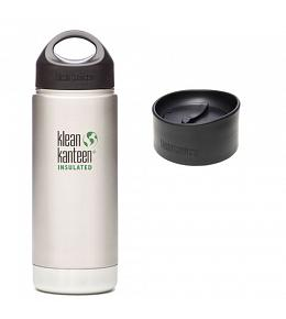 Klean Kanteen Brushed Stainless Wide Insulated w/ 2 Caps (Loop Cap and Coffee Cap)