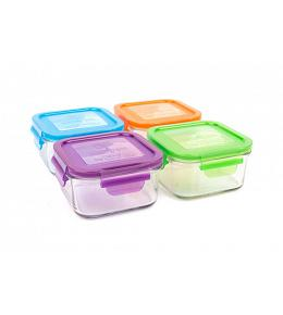 Wean Green Lunch Cubes Baby Food Containers - Multi-Color Garden 4 Pack Featuring Grape