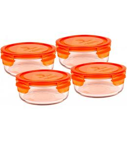 Wean Green Meal Bowl Glass Tupperware Containers - Carrot Set of 4