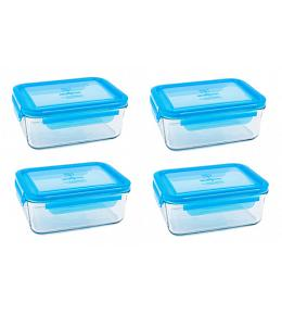 Wean Green Meal Tub Glass Food Storage Containers - Blueberry Set of 4