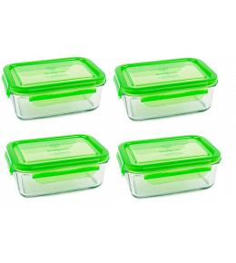 Wean Green Lunch Tub Glass Food Storage Containers - Pea Set of 4