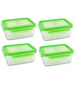 Wean Green Meal Tub Glass Food Storage Containers - Pea Set of 4